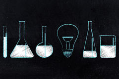 Lightbulb Next To Lab Bottles, Laboratory Of Ideas Stock Image