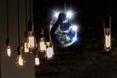 Lightbulb Planet Earth Stock Photography