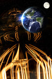 Lightbulb Planet Earth. Planet earth and lightbulb for global power and energy concept, light bulb, Elements of image from NASA Stock Photo