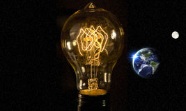 Lightbulb Planet Earth. Planet earth and lightbulb for global power and energy concept, light bulb, Elements of image from NASA Stock Photos