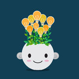 Lightbulb plant in smiley pot Stock Image