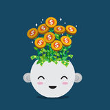 Flat style vector of money plant in smiley pot  Royalty Free Stock Image