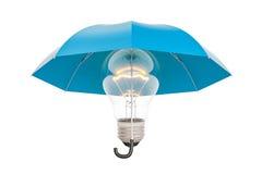 Lightbulb pod parasolem, ubezpieczeniem i ochrony pojęciem, 3D r Zdjęcie Stock