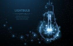 Lightbulb. Polygonal mesh art looks like constellation. Concept illustration or background. Lightbulb. Polygonal mesh art with crumbled edge on blue night sky stock illustration