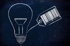 Lightbulb with price tag and bar code Royalty Free Stock Photography