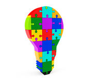 Lightbulb of the puzzle Stock Photo