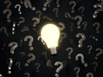 Lightbulb and question marks Stock Images