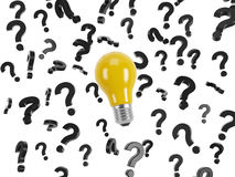 Lightbulb and question marks Royalty Free Stock Image