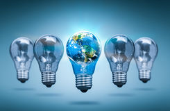 Lightbulb in the shape of the world - bulb concepts. Royalty Free Stock Photography