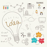 Lightbulb show ideas concept with doodles icons  Royalty Free Stock Photos