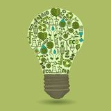 Lightbulb with sketch ecology and waste icons Stock Photo