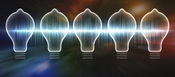 Lightbulb Sound Wave. Light bulb 3d illustration containing neon sound wave Stock Photography