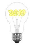 Lightbulb with sparkling 2010 digits inside. On white background. High resolution 3D image Stock Photos