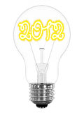 Lightbulb with sparkling 2012 digits inside. Isolated on white. High resolution 3D image vector illustration