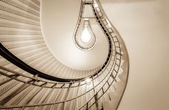 Lightbulb styled stairway in Prague. A lightbulb styled stairway in the house of the black madonna in Prague Stock Photos