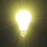 Bright idea invention energy lightbulb symbol. Light bulb empty frame symbolic sign with shining light flares. Generating great idea, creation, innovation Royalty Free Stock Image