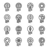 Lightbulb thin line icon set. Editable stroke. Vector illustrati Stock Photos