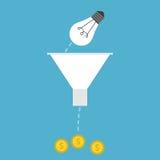 Lightbulb, trechter en geld Vector Illustratie