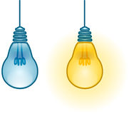Lightbulb Turned On and Off. A vector illustration of two turned on and off light-bulbs vector illustration