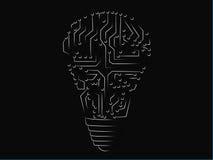 Lightbulb van elektronische kringen wordt gemaakt die Stock Fotografie