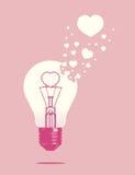 Lightbulb van liefdeconcept Stock Afbeelding