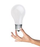 Lightbulb in woman hand over white, green energy concept Stock Photography