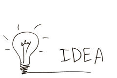 Lightbulb and the word idea on a white board Royalty Free Stock Photo