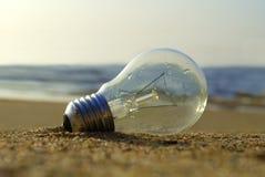 Lightbulb wordt na bijna drownd en de zon gespaard is begonnen die met om over het te glanzen stock foto's