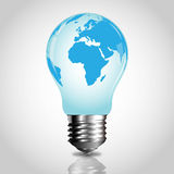 Lightbulb with world map Royalty Free Stock Photos