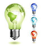 Lightbulb with worldmap. Realistic illustration of a lightbulb with a world-map on it - four different color-versions Royalty Free Stock Photo
