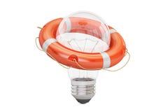 Lightbulb z lifebuoy, 3D rendering Zdjęcie Stock
