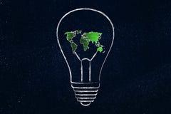 Lightbulb z mapą świat robić binarny kod Zdjęcie Royalty Free