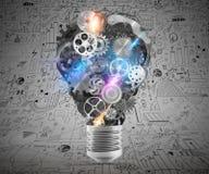 Lightbulbmechanismen van toestellen het 3d teruggeven Stock Foto's