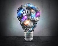 Lightbulbmechanismen van toestellen het 3d teruggeven Stock Foto