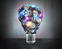 Lightbulbmekanism av kugghjul framförande 3d Arkivfoto