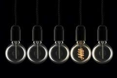 Lightbulbs περίεργο έξω Στοκ Εικόνες
