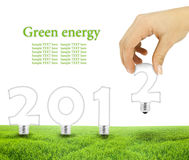 Lightbulbs. Scene of the hand plant lightbulb forming 2012 on green field Royalty Free Stock Photography