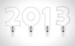 Lightbulbs. Lamp bulb forming 2013 on white background Stock Illustration
