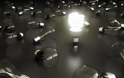 Lightbulbs. On gray bakground, idea concept Stock Image