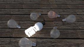 Lightbulbs die ideeën vertegenwoordigen Stock Foto's