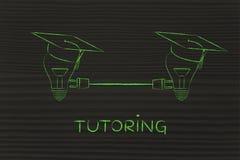 Lightbulbs with graduation cap with plug, tutoring Royalty Free Stock Image