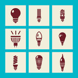 Lightbulbs icon set - Illustration Stock Photo