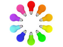 Lightbulbs kaleidoscope of rainbow colours Stock Image