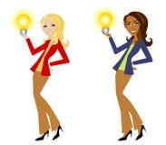 lightbulbs kobiety gospodarstw, Zdjęcia Royalty Free