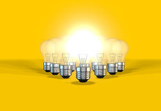 Lightbulbs representing idea generation as a team Royalty Free Stock Image