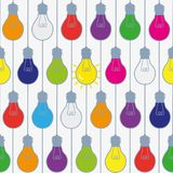 Lightbulbs seamless pattern in bright colors, funny design. Stock Photos