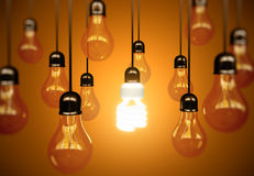 Lightbulbs on yellow Stock Photography