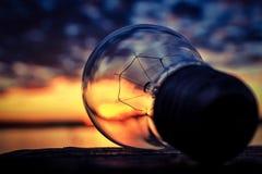 Lightbulbsolnedgång Arkivfoton