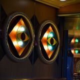 The all seeing eye at Carnival Triumph. The lighted all seeing eye at Carnival Triumph royalty free stock photo