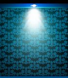 Lighted blue seamless wall with lamp. Vector Stock Photo